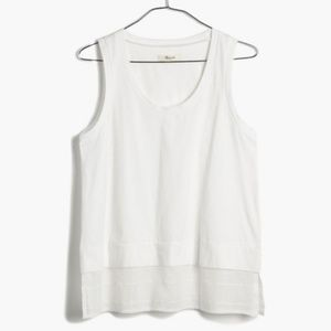 Madewell Gauze Layer Tank in Grid Weave  White XS